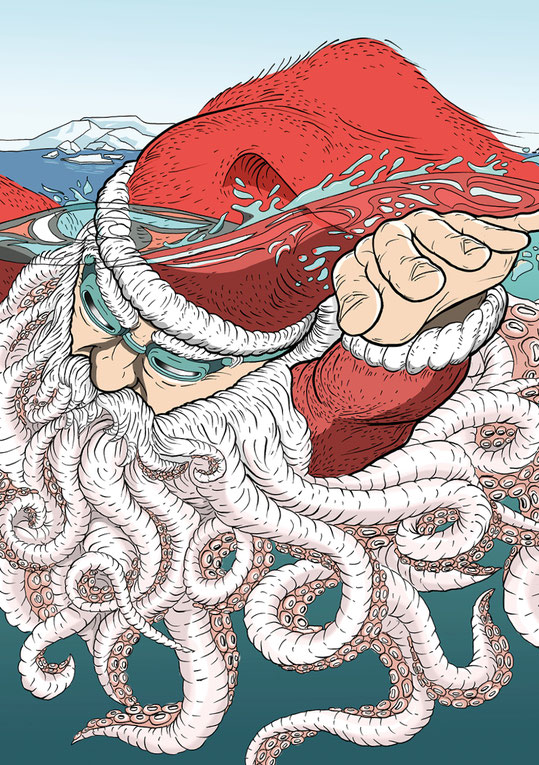 Christmas Illustration: Swimming Santaclaus 2017 | Design by Lockedesign.ch 2017 (Einzigartige, von Hand gezeichnete Illustration)