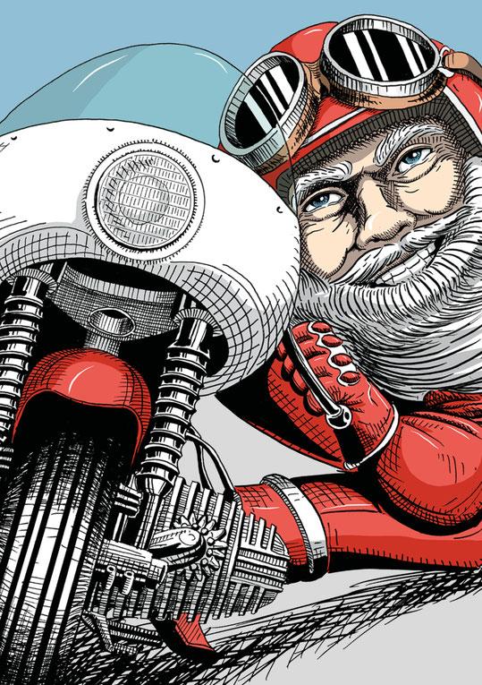 Lustiger motoradfahrender Weihnachtsmann. Illustriert mit Bleistift und Tusche von Lockedesign, Bern