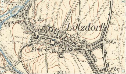 Ausschnitt Karte Lotzdorf 1904 mit Feldwegen als Flurgrenzen;  Quelle: MTB 1904 SLUB/KS 16843 DD