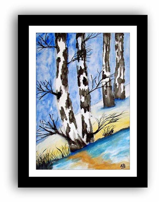 Landschaft-Aquarellmalerei-Winterlandschaft-Berge-Schnee-Bäume-Birken-Wald-Hügel-Aquarellbild-Aquarellgemälde