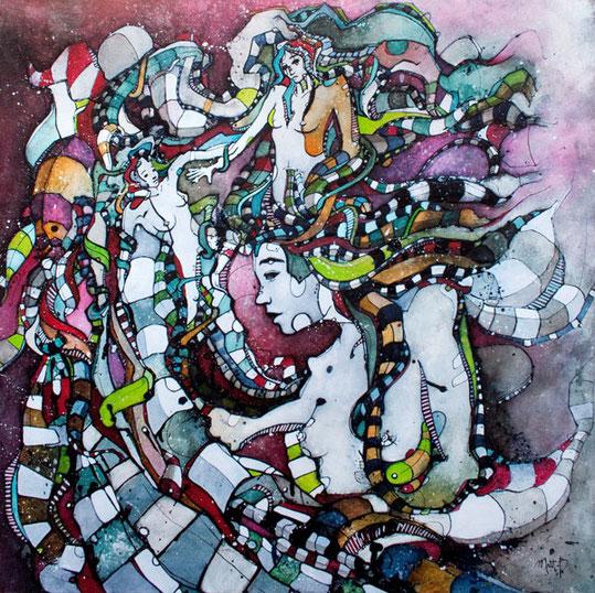 Matt.B, mattb, peinture, acrylique, encre, femme, nu, painting, acrylic, ink, woman, nude