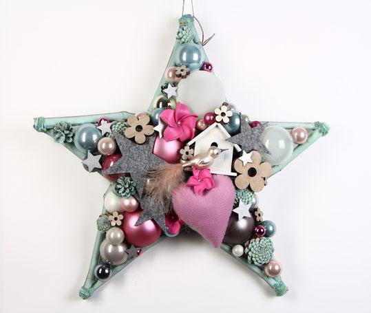 Großer Stern in Pastelltönen mit Vogelhäuschen - rosa Stoffherz und Glas Vogel