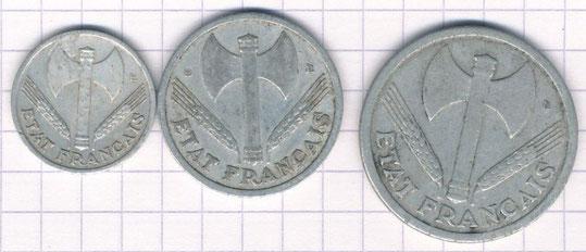Pièces de monnaie du Gouvernement de Vichy (elles furent utilisées jusque dans les années 50)