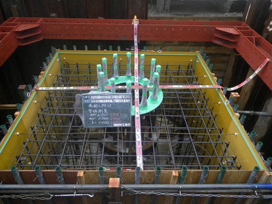 橋脚工型枠測定写真