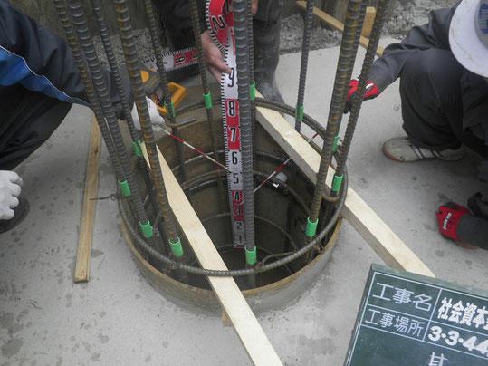 貫入管鉄筋組状況写真