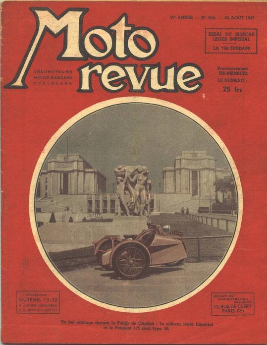 Moto Revue 26.08.1949. 4 pages. Essai de la Zündapp KS750.