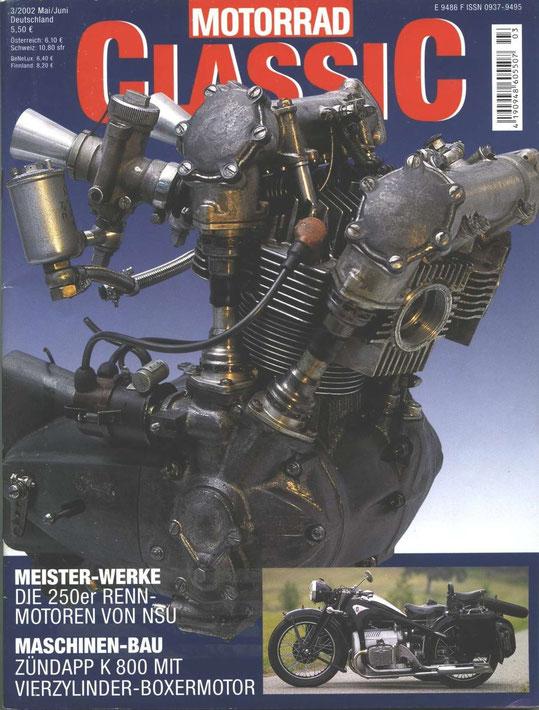 Motorrad Classic, mai-juin 2002, 7 pages sur la K800