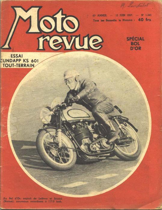 Moto revue 15.06.1957. 7 pages. Essai tout terrain KS601.