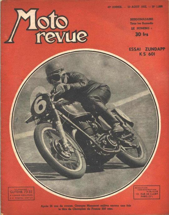 Moto Revue 23.08.1952. 4 pages. Essai KS601.