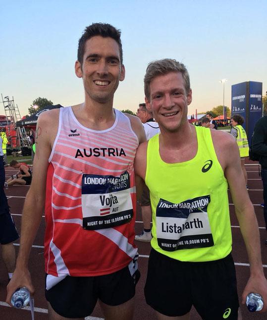 Andreas Vojta und Stephan Listabarth nach dem heutigen Rennen in London (Foto: vermutlich Karl Sander, gefunden auf fb)