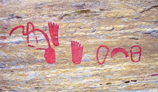 Felsritzung Füße