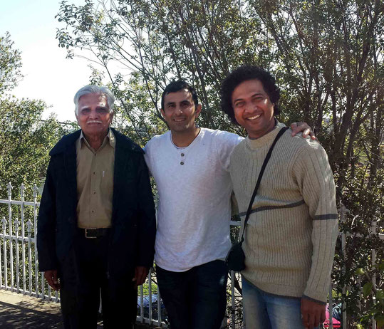 September 2015, Melbourne, Australia.  ( L - R ) Pratap, Jamshed Irani & Swaroop Ahir ( Pratap's son ). Photo taken by Anthony Zois