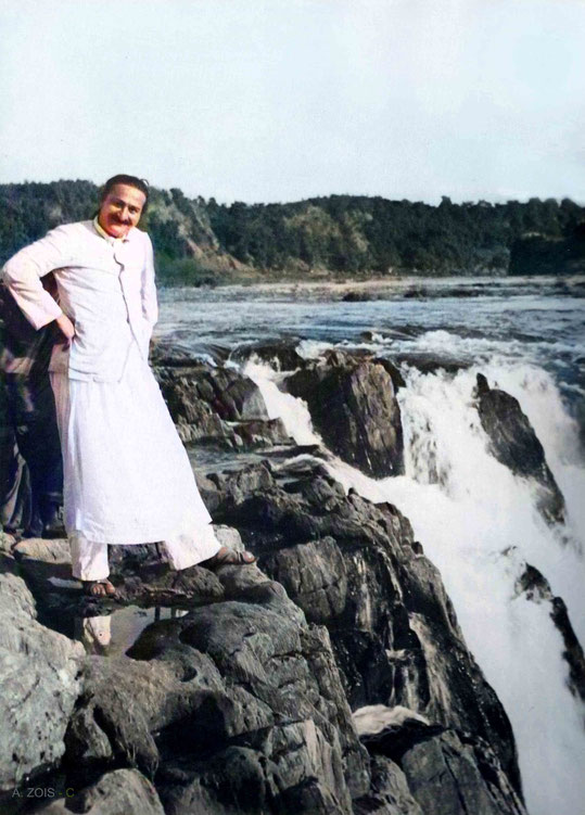 3. Meher Baba  at the Dhuandhar Falls or the Smoke Cascade at Marble Rocks, near Jabalpur, India - 24th Dec. 1938.