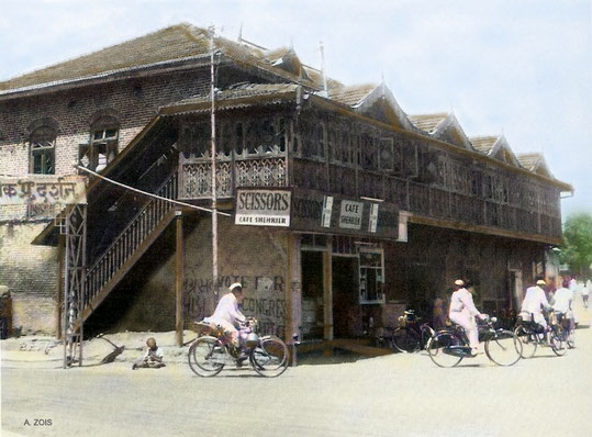 1900S : Sheriar's Cafe at Quarter Gate in Poona. Image colourized by Anthony Zois.