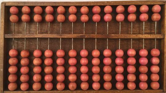 """Ábaco chino """"son pan"""" (base 16), 13 columnas, 30x17 cm, con panel trasero"""