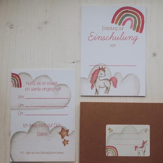 """Einladungen """"Einhorn küsst Regenbogen"""""""