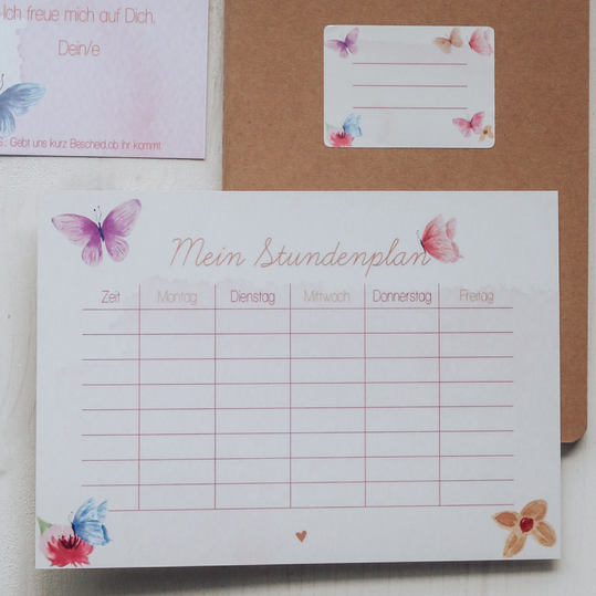 """Stundenplan """"Pink Butterflies"""""""