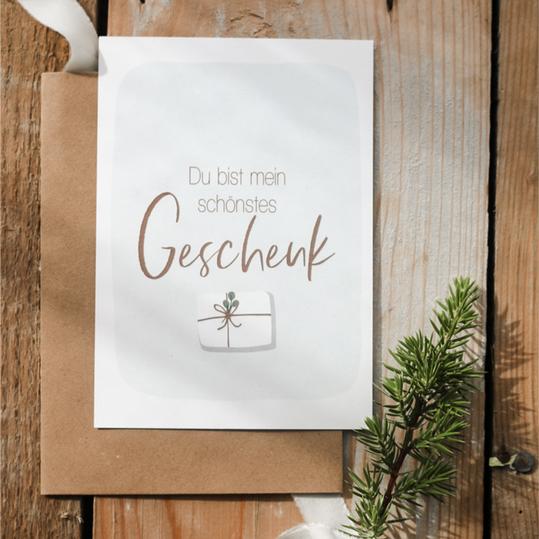 """Weihnachtspostkarte """"Du bist mein schönstes Geschenk"""""""