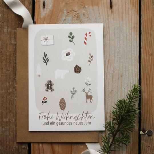 """Weihnachtspostkarte """"Frohe Weihnachten ..."""""""