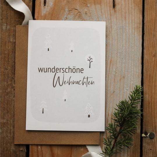 """Weihnachtspostkarte """"wunderschöne Weihnachten"""""""