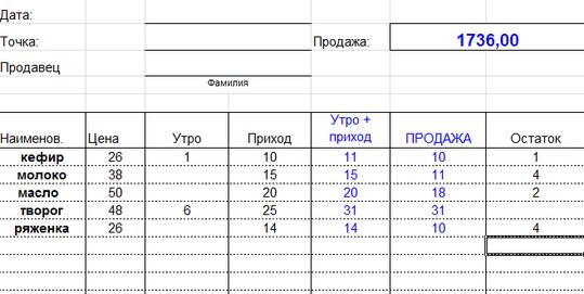 Excel Таблица Расход Приход Остаток