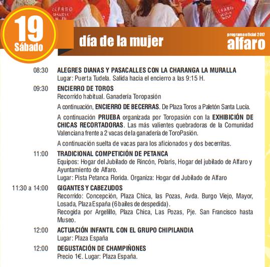 Fiestas de San Roque y San Ezequiel en ALFARO Programa