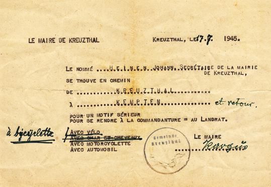 Passierschein des Gemeindesekretärs Hanns Heinen, Juli 1945