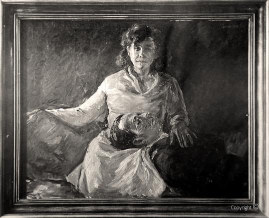 Erwin Bowien (1899-1972) – Nachtportrait – Bildnis von Erna Heinen-Steinhoff mit Hanns Heinen, 1930  - dieses Bild ist seit einem Einbruch im Jahr 2006 verschollen)