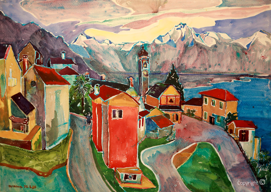 Bettina - Panorama von Orsalina bei Locarno, Aquarell, 1953