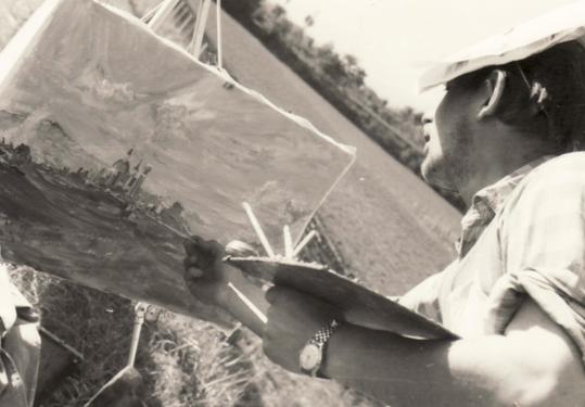 Amud Uwe Millies beim Malen in Lonato, 1964