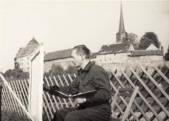Uwe Millies beim Malen in Schlitz, Hessen, 1963