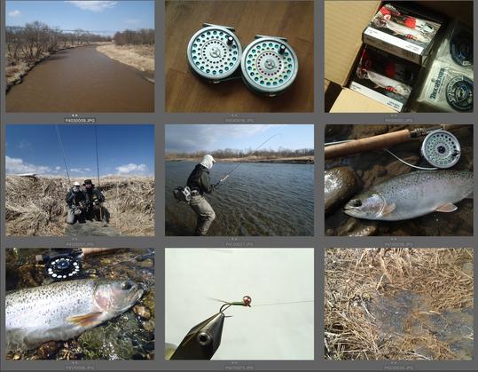 4月上旬は、ニンフィングはもちろんのこと、釣り方、ねらい方さえ限定すればツーハンドでのニジマスねらいも楽しむことができます。場所によってはアメマス釣りのピークだが、ニジマス釣りが楽しいスポットもあります。一方で雪代による濁りで釣りにならない川も。