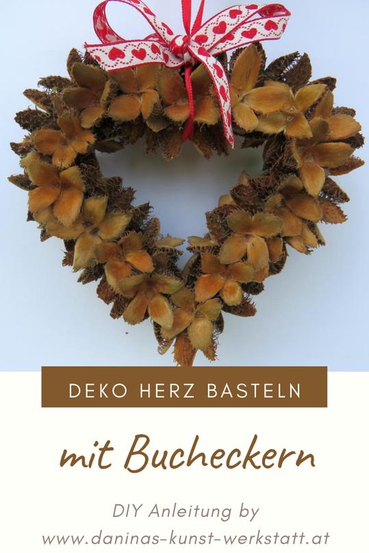 Deko Herz aus Bucheckern basteln. Herbstdeko selber machen.  - Anleitung zum Selbermachen by Daninas-Kunst-Werkstatt.