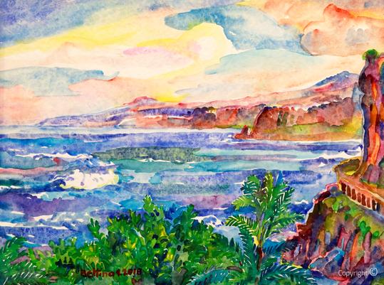 Bettina Heinen-Ayech (1937-2020): Blick auf die Steilküste vor Puerto de la Cruz in Teneriffa, 2018
