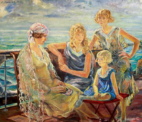 Erwin Bowien (1899-1972): Frieda Enzenroß und Ihre Töchter auf einem Bodenseedampfer, 1930