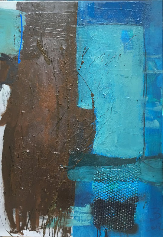Bild Acryl-Mischtechnik mit Bitumen in blau und braun