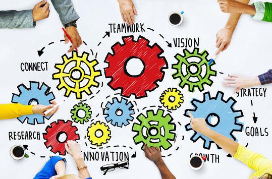 Teamwork, Visionen, Strategien & Ziele sind miteinander verknüpft.