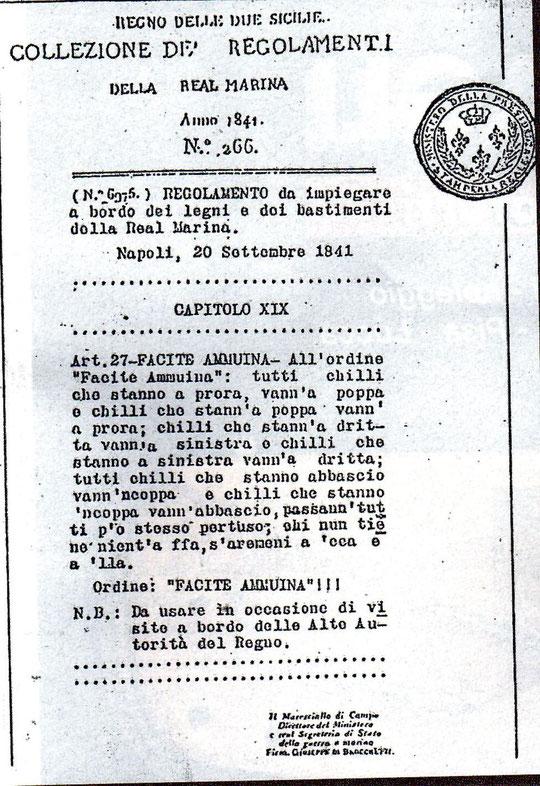 REGOLAMENTO STORICO