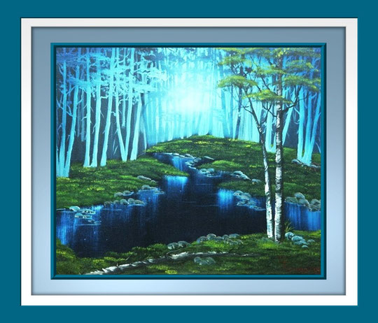 Abend am Waldsee - Oel auf Leinwand - ohne Rahmen -