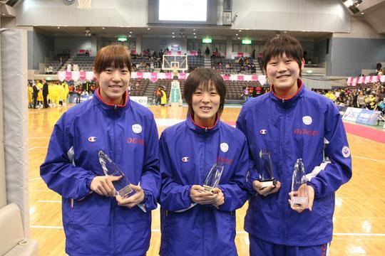 (左)藤原選手、(中央)小畑選手、(右)高田選手