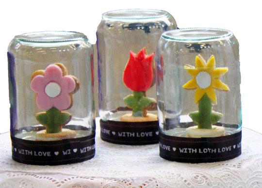 3D bloemetjes koekje in een pot