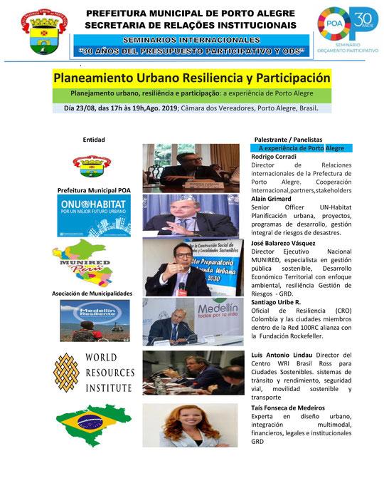 SEMINARIO INTERNACIONAL 30 años del Presupuesto Participativo Porto Alegre: RESILIENCIA, PARTICIPACIÓN Y PLANEAMIENTO URBANO