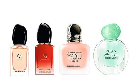 2020 - LES 4 MINIATURES FAISANT PARTIE DU COFFRET CI-DESSUS : - SI, SI PASSIONE, IN LOVE WITH YOU, ACQUA di GIOIA