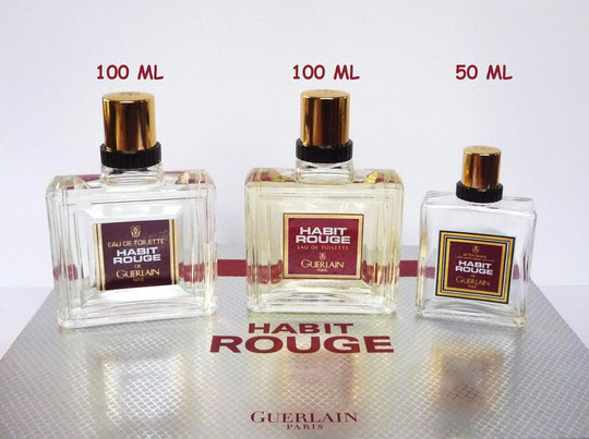 1964 - HABIT ROUGE : 2 FLACONS FACTICE 100 ML CHACUN & 1 FLACON APRES-RASAGE 50 ML