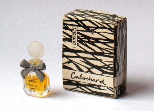 CABOCHARD - MINIATURE PARFUM 0,7 ML : MINIATURE AVEC BOUCHON PLASTIQUE BLANC, NOEUD GRIS