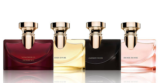 LES 4 DIFFERENTES VERSIONS :  ROSE ROSE, JASMIN NOIR, IRIS D'OR et MAGNOLIA SENSUEL