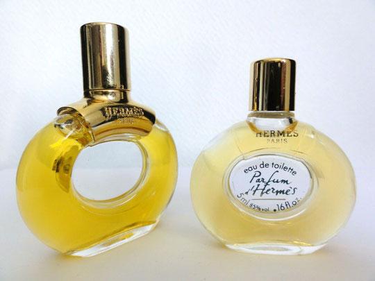 PARFUM D'HERMES : FLACON 1ère TAILLE PARFUM, ACCOMPAGNE D'UNE MINIATURE