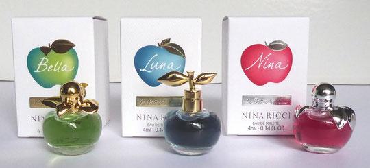LES 3 MINIATURES DU COFFRET :  1) BELLA  2) LUNA  3) NINA