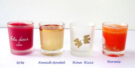 BOUGIES DE PARFUMEURS : GRES, ANNICK GOUTAL, NINA RICCI et HERMES