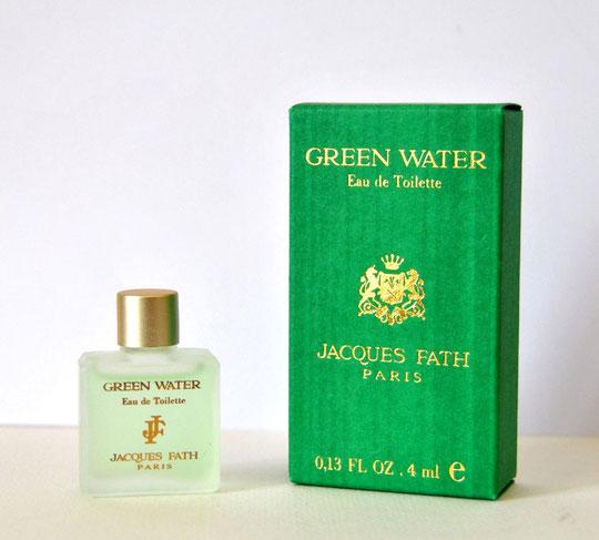 FATH JACQUES : GREEN WATER - EAU DE TOILETTE 4 ML,  MINIATURE EN VERRE DEPOLI